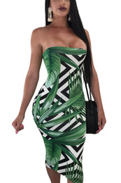 Green Printed Dress NZ - 2018 Sexy Tunic Vestidos Midi Dresses Tropical Green Leaf Print Strapless Bodycon Dress Summer Clothes For Women Dresses