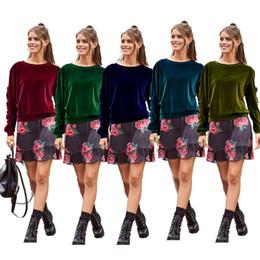 Ruffled Sleeve Sweatshirt NZ - 2018 New HOT High Quality Velvet Women T Shirts Ruffles Long Sleeves O Neck Loose Casual Girl Sweatshirts Top and Tees 5 Colors S-2XL