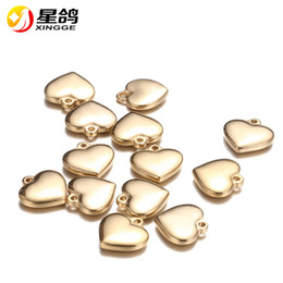 14k gold charms wholesale Canada - Stainless Steel Cute Heart Charms gold Silver Tone 16*16mm heart Pendants For Jewelry Making DIY Findings Wholesale