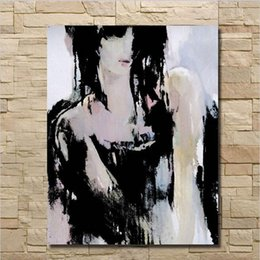 modern floral oil paintings Canada - Pure Hand Painted Modern Oil Painting On Canvas Girl Wall Art Home Decoration 1pcs set no Framed Decorative Wall Pictures