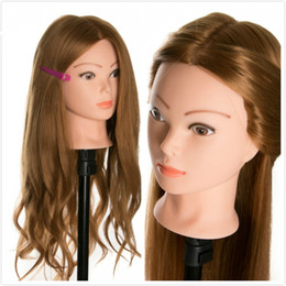 China 40 % Real Human Hair Training head dolls for hairdressers Mannequin Dolls blonde color styling head can be curled hair cheap real hair training head mannequin suppliers