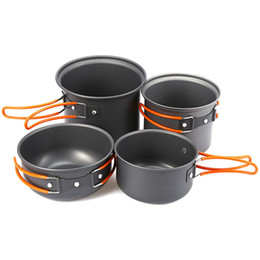 hiking outdoor cookware NZ - Outlife 4pcs Foldable Outdoor Camping Tableware Travel Camping Hiking Cookware Backpacking Picnic Bowl Cooking Tool Pot Pan Set