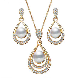 Fashion Gold Color Water Drop Simulated Pearl Crystal Necklace Stud Earrings  Jewelry Set for Women Party Wedding Jewellery 1bd975843085