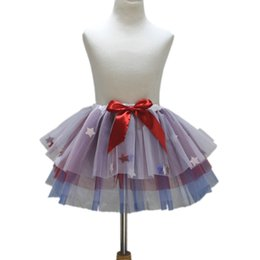 Red White Blue Tutus Australia - 4th July New Royal Blue Red White Girls Skirt With Star Fashion Colorful Kids Tulle Dance Girls Tutu Skirt