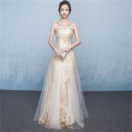 Discount long elegant dinner dresses - Mingli Tengda 2018 New Champagne Sequins Lace Evening Dresses O Neck Prom Dresses Elegant Long Banquet Host Dress Sexy S