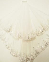 $enCountryForm.capitalKeyWord Australia - 1.5 m sequined lace side veil wholesale wedding car bone double sequin accessories bridal veil with hair comb Bridal Veils