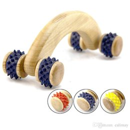 hand therapy massager NZ - Fitness Wooden 4 Rubber Wheels Body Hands Arms Legs Massage Roller Full Body Wood Massager Therapy Tools