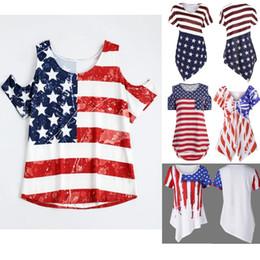Wholesale Women Fashionable Tops Australia - Factory Plus Size 5 Styles Women American Flag Asymmetric T-Shirt O Neck Striped Short Sleeve Summer 2018 Tops Fashionable Casual Female Tee