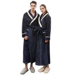 a632cdb505 Men Bathrobe Long Flannel Warm Bath Robe 2018 Winter Thicken Kimono Robes  Couples Male Dressing Gown Sexy Sleepwear Nightwear