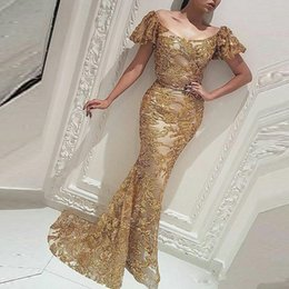 bling short prom dresses NZ - Bling Bling Sequin Mermaid Evening Dresses Scoop Neck Short Sleeve Sweep Train Evening Wear Yousef aljasmi Gold Abric Prom Party Gowns