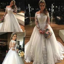 Wholesale cap sleeved online – oversize 2019 Elegant Off Shoulder Princess Wedding Dresses Long Sleeved Winter Vintage Bridal Gown Tulle Appliqued Lace Vestido De Noiva Manga Longa