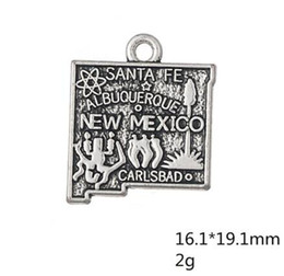 Discount mexico silver jewelry Zinc alloy Antique Silver Plated USA State Map New Mexico Charms for Jewelry Making