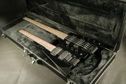 $enCountryForm.capitalKeyWord NZ - In stock black flamed maple top double neck headless electric guitar bass guitar set in neck guranteed quality guitars Free Shipping