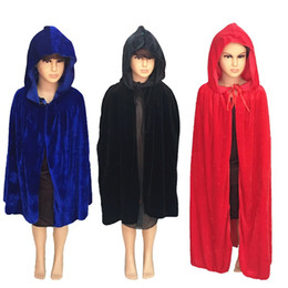 Discount kids scary costumes - wizard Cosplay Costume Halloween Party Solid Black Green Red Scary Death Cloak Cape for Kids S-XL