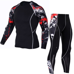 men tight suits UK - Men's Compression Run jogging Suits Clothes Sports Set Long t shirt And Pants Gym Fitness workout Tights clothing 2pcs Sets