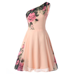 China 2019 One Shoulder Homecoming Dresses Printed Flower A-Line Formal Party Dresses Evening Gowns For Sweet 15 16 cheap sweet pleated chiffon mini dress suppliers
