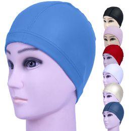 swim hats for long hair 2019 - New Elastic Waterproof PU Fabric Protect Ears Long Hair Sports Swim Pool Hat Swimming Cap For Men & Women Adults Sh BB c