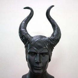 b39159eb4f0168 Maleficent Horns Hats Helmet Head Cover Bar Ox Horn Mask Cosplay Sleeping  Beauty Witch Halloween Party Costume Headpiece Hat Cap 21py gg