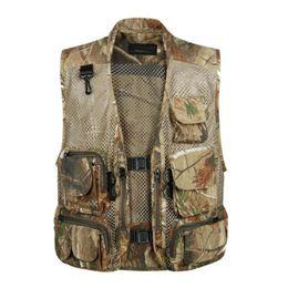 $enCountryForm.capitalKeyWord Canada - Mens Waistcoat Sleeveless Coats Summer Baggy Multi Pocket zipper Photographers Male Vest Gauze Green Camouflage Gilet for Men