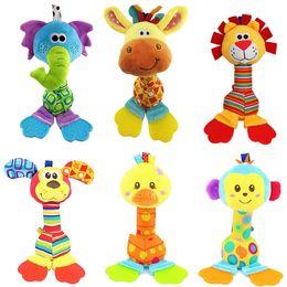 Discount monkey baby rattle - happy monkey 22cm 6 Styles Baby doll Cheerful Rocking stick bibi Sound Teether Soft Gentle Rattle Plush Toy Cute Animals