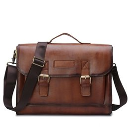 9e06161795 Genuine Leather Men Laptop Shoulder Bag Men s Crossbody Male Messenger Bags  First layer cowhide Briefcases Tote Vintage Cover Leisure