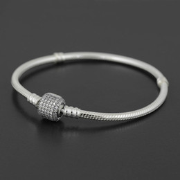 Wholesale Authentic Sterling Silver bracelet Bangle with LOGO Engraved for Pandora European Charms and Bead You can Mixed size Free ship