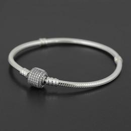 Authentisches 925 Sterlingsilberarmband Armband mit LOGO gravierte für Pandora europäischen Charme und Korn 10pcs / lot Sie können Mischgröße geben Schiff frei im Angebot