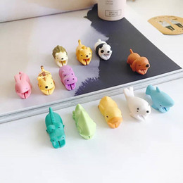 cable saver protector UK - Cable Bite USB Cable Saver Protector Cover Wire Cord Cute Animal Design Charging Cord Protective for iPhone Type-C micro