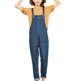 ef9d448546f3 2018 Female Denim Jumpsuits Casual Rompers Loose Pockets Overalls For Women  Sleeveless Side Zipper Jeans Playsuits Oversized