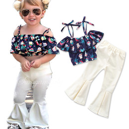 Floral Print Shirts Baby Australia - Kids Boutique Clothing 2018 Baby Girls Summer Clothe Suits Floral Print Strap T-shirt Tops + Long White Flare Pants 2PCS Girls Outfits Set