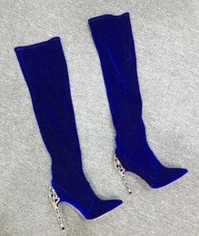 black soft thigh high boots NZ - 2018 Women Luxurious Royal Blue Black Suede Metal Heel Boots Pointed Toe Cut-out Heels Dress Boots Over-the-knee Boots Thigh High