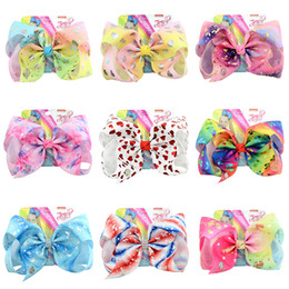 Wholesale 135 styles JOJO SIWA inch LARGE Rainbow Unicorn Signature HAIR BOW with card and sequin logo baby girl Children Hair Accessories hair clip