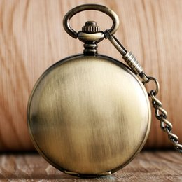 self winding pocket watch Canada - Self Winding Skeleton Pocket Watch Simple Bronze Copper Smooth Noctilucent Steampunk Fob Automatic Mechanical Watch with Chain