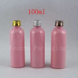 Plastic Pink Containers Australia - 100ml X 50 Pink Plastic Container Aluminum Screw Lid Travel Lotion Container Packaging For Cosmetics ,Oil Container 100cc Vial