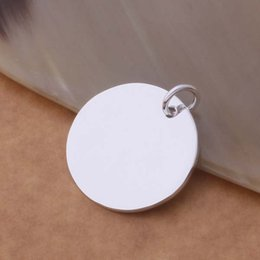 Stamped Pendant Necklace NZ - Wholesale silver plated charm jewelrys Necklace,free shipping 925 stamped fashion jewelry pendant Silvery disc AN691