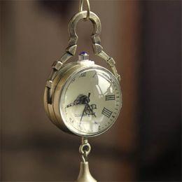 Wholesale Steampunk Glasses Australia - Fashion Men Bronze Quartz Ball Glass Pocket Watch Necklace Chain Steampunk Men Women Luxury Watch Relogio Masculino#TT