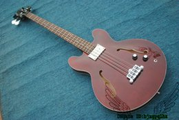 Wholesale Brown Bass Guitars Strings Hollow Electric Bass High Quality OEM Best Selling
