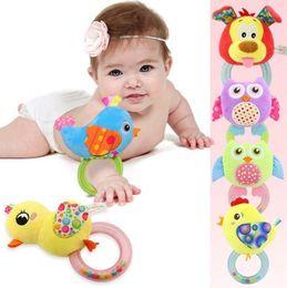 monkey baby rattle 2019 - 0-3 Y Baby Rattle hand Bell Toy 5 Style Owl Bird Chicken Animals Plush Happy Monkey Gift cheap monkey baby rattle