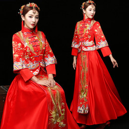 Discount phoenix clothes - bride wedding dress Traditional chinese style costume Phoenix cheongsam Embroidery clothing Luxury ancient Royal Red Qip