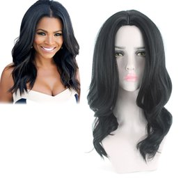 Korean fashion wigs online shopping - 2018 Top Quality Synthetic Wig Free wig cap Medium length Natural Black Korean Heat Resistant Fiber Made Fashion Wig For Black Women