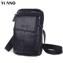 $enCountryForm.capitalKeyWord Canada - YIANG Shoulder Bags for Men Fashion Mobile Phone Crossbody Shoulder Bag Genuine Leather Messenger Waist Belt Bags 2018 Hot Sale