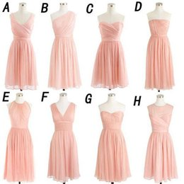 knee length dress blush 2019 - Short Bridesmaid Dresses 2018 Blush Pink Chiffon Sweetheart Knee Length Wedding Guest Dress Simple Cheap Gowns For Bride