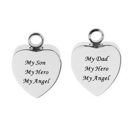 "$enCountryForm.capitalKeyWord Australia - Stainless Steel Heart Cremation ""My Son My Dad' Engraved Urn Keepsake Ash Holder Pendant DIY Pendant Necklace"
