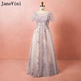 Wholesale sexy sleeve dinner dresses plus size resale online – JaneVini Arabian Long Evening Dresses Lace Sequined Short Sleeve Plus Size Women Party Dresses Tulle Dinner Formal Gowns Robes Longues