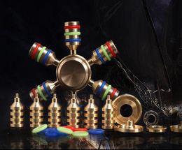 Moda mão Bronze Hexagonal Bronze octogonal arco-íris Fidget Spinner Anti-stress Rotação De Metal Defeito Novidade Brinquedo frete grátis venda por atacado