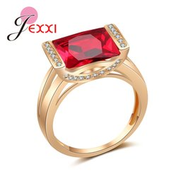 Discount noble rings - JEXXI Top Quality Noble Square Red Cubic Zirconia Paved Vintage Rose Gold Color Women Femme Engagement Wedding Rings