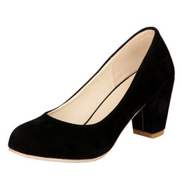 f08468a41dab SJJH 2018 Faux Suede Pumps with Round Toe and Chunky Heel Elegant OL Style  Shoes for Fashion Women with Large Size Available A128