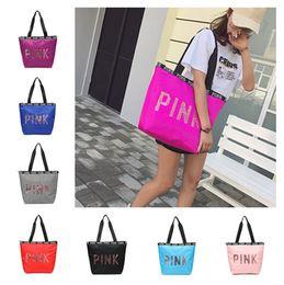 5ff909ec4c22 27 Color Pink Sequin Shiny Letter Handbag Women Shoulder Bags Love Pink  Waterproof Travel Sports Beach Shopping Bag Duffle Bags Tote