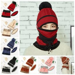 Wommen knit hat mask scarf Set earmuffs Knitted Hat With Bib Mask Scarf  Wool Beanies Thickened Warm Hats Casual Caps GGA1078 5fd37f270fe7