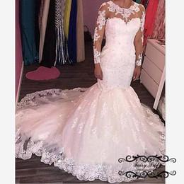White Wedding Gowns Australia - Gorgeous Lace Mermaid Wedding Dresses 2018 White Sheer Long Sleeves 3D-Floral Appliques Illusion Neck Chapel Train Bridal Dress Gown